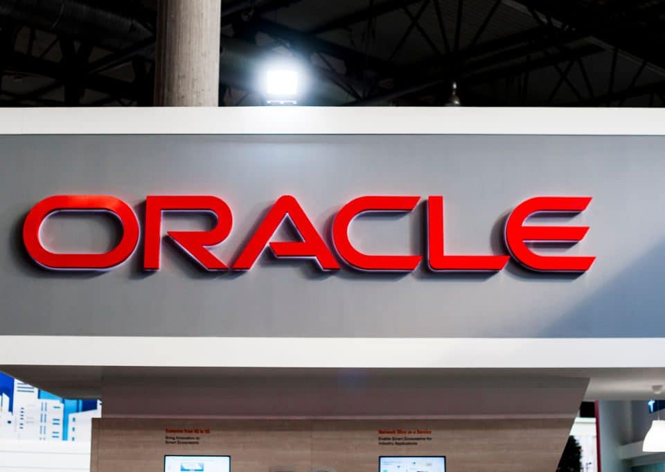 Oracle logo exhibited during the Mobile World Congress, on February 28, 2019 in Barcelona, Spain.   (Photo by Joan Cros/NurPhoto via Getty Images)